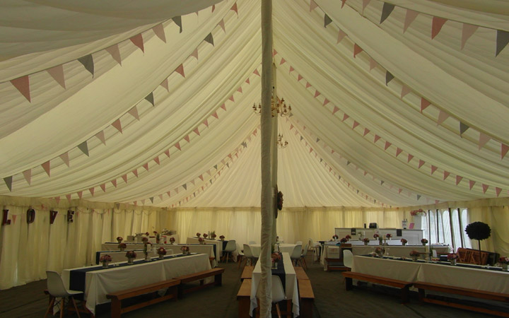 Internal Marquee with Tables Chairs and Dance Floor